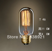 Free shipping 6 pcs/lot Edison light bulb  personalized retro classic creative arts bulb E27 40 w 220-240v screw bulb T46 Retro