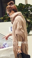 New 2014 Women Sweater Winter Warm Thickness Fashion Knitting Single Breasted Solid Long Sleeve Batwing Khaki Red Plus Size