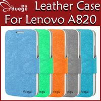 Duegu case for Lenovo a820, original colorful high quality Lenovo a820 leather case cover hot sale +screen protector film