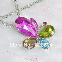 Trend high-end classic temperament elegant beautiful butterfly shape  necklace and colorful crystal