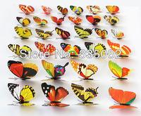 100pcs 7cm Vivid 3D duplex printing Multi Color Butterfly Fridge refrigerator Magnet for Home Decor wedding party gift Crafts