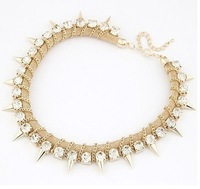 Min.order is $10(mixi items)Free Shipping!  Punk rivet rhinestone necklace fashion women jewelry