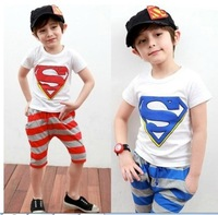new 2014 wholesale children suit summer boy kids superman leisure sports suits 5sets/lot
