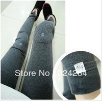 2014 new fashion leggings velvet thickening skinny legging pants ankle Knee embroidery patch kitten render warm women leggings