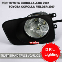 Free Gifts + Free Shipping LED Fog Lamp for TOYOTA COROLLA AXIO FIEDER 2007 ~ON Clear Lens PAIR SET + Wiring Kit