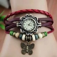 W29 Min.Order $8 (Mix Order) Free Shipping Wholesale Fashion 2013 Arrival 7 Colors Leather Butterfly Womens Watch