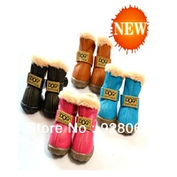 2013 NEW 1Set /4pcs Pet Shoes Classic winter Warm pet shoes Anti-Slip,Water Proof With Fur Pet dog shoes Fashion Boot