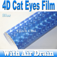 high quality blue 4D Cat Eyes Carbon Film / Flashing and Spark Carbon Fiber Film with Bubble Free Channel / FREE SHIPPING