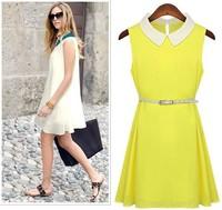 2013 women's plus size slim peter pan collar belt sleeveless chiffon one-piece dress