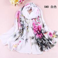 Hot sale Peony Print new Korean chiffon scarf women Fashion thin  scarves  gift for women OT010