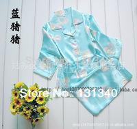 2013 children pajamas,kids pajamas sleepwear set,summer Silk pyjamas,boys girls baby nightgown suit,short pjs,unisex,mix