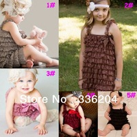 (31 Colors to Choose ) Retail Petti Lace Romper with Ruffle and Strape Baby Girl Outfit Free Shipping
