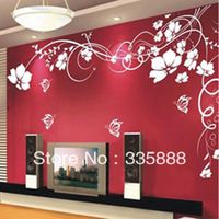 Butterfly flower vine flowers wall tv sofa romantic wall stickers