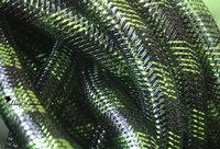 Non Metallic Black w/ Green Tubular Crin  cyberlox  fall hair extensions60 yard