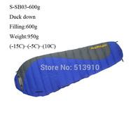 -15C~10C!Filling 600g duck down Outdoor/indoor super light warm autumn/winter sleeping bag widen pattern can be spliced