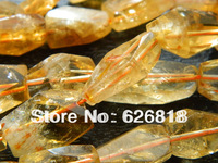 Wholesale  natural 8-11*13-18mm citrine crystal stone faceted freeform bead pendant