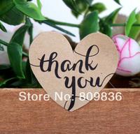 Brown Kraft Thank You Heart Stickers (ss-6845)