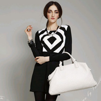 Free shipping 2013 new women's fashion long-sleeved dress stitching Slim, A word skirt, warmth Slim