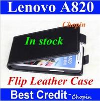 high quality black in stock lenovo a820 flip leather case lenovo a820 pouch case PU flip case for lenovo a820 cover for A820/Eva