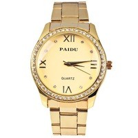 Buy Gold Paidu 58929 Wrist Watch Women Watches 4 Roman Number and Diamond Dots Hour Marks Round Dial Steel Watchband Hot Sale