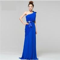 Long design formal dress blue bow one shoulder evening dress banquet free shipping