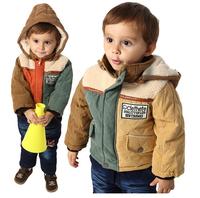 Z-047,New arrive 2014 winter warm baby suit casual boys thick cotton clothes set coat+jeans top quality infant garment Retail