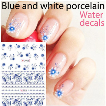 24sheets nail art Water Transfer Sticker Decals Sticker applique flower blue and white porcelain china2007#-2018#