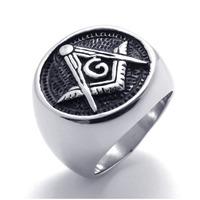 Men Jewelry Embossed Stamped Freemason Masonic Stainless Steel Black Enamel Mens Signet Ring