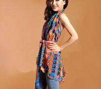 2 autumn and winter velvet doodle chiffon colorful carriage silk scarf female bandanas sun scarf