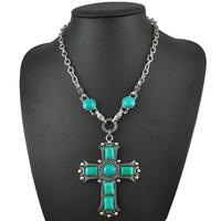 New Cross Pendants Necklace Religious Jewelry Unique Turquoise Cross Necklaces  N1624