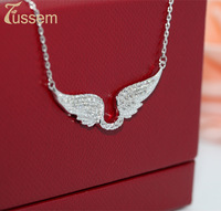"""FUSSEM New Arrival """"Shiny Wings"""" Full Cover Swiss Diamond and S925 Pure Silver Personality Pendant Necklace FREE SHIPPING"""