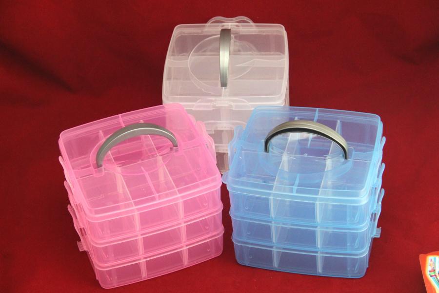 Hot Sale Multi Utility jewel Storage Case Box plastic 3 Layer Nail Art Craft Fishing Makeup Tool casket Hard Rack Free Shipping(China (Mainland))