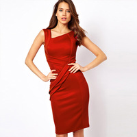 Miusol autumn fashion elegant vintage outfit sleeveless vest slim one-piece dress red bodycon dresses