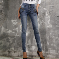 2013 extra plus size women's high waist jeans buttons elastic pencil pants skinny blue denim long trousers XXXXL