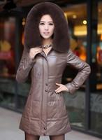 2013 Down Coat With Fur Collar For Women Real Sheepskin Fox Fur Outerwear