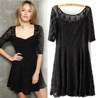 Free shipping/2013 Women's fashion style prevalent/ long sleeve o-neck lace dress three colour /Wholesale + Retail