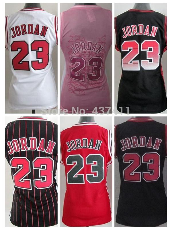 Jordan Women jersey ,Chicago 23 Michael Jordan White Red Black Stripes Pink Rev 3