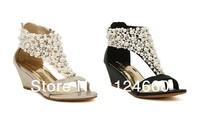 2013 designer platform pumps shoes Manual wear bead low wedge open toe sandals