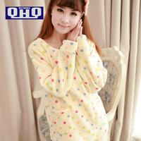 QHQ 2014 Ladies Pajama Sets, Thick Winter  Pijama Feminine Nightdress, Polka Dot Lovely Women Nightwear