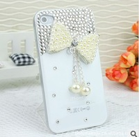 Gorgeous fashion pearl diamond bow Phone shell case for phone 4 4s 5,Free shipping.
