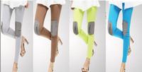 Women Candy Color Knee Patch Zipper Cotton Ankle Length Casual Fashion Legging   7 Colors