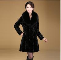Fur coat mink hair fur overcoat outerwear fox fur medium-long fur