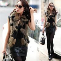 Fur coat vest rabbit sweater vest female short design cape women's