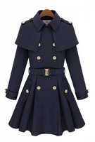 New Arrival 2014 Winter And Autumn New Fashion Brand High Quality Women Trench Slim Ladies Woolen Desigual Coat Outerwear 8428