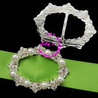 oval shape rhinestone and pearl ribbon slider buckles, rhinestone and pearl buckles, 35*28mm,DIY wedding supply,120pcs/lot
