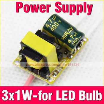 10pcs/lot Led Driver 3 x1W Inside Driver Power Supply Led Light Lamp AC85-265V with 3W Led Bulb E27 E14 GU10 B22 Light Bulb