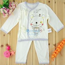 3Sets/Lot Baby Set Boys Girls Clothing Infant Sleep Suit Long Sleeve Kimono + Pants 17695(China (Mainland))
