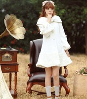 2014New Style Fashion women Japen/Koren Ladies designer luxury palace for Princess style wool White coats