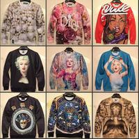 3D MALL in stock 2014 Women / Men /Animals/ Pearl  print Pullover 3D Sweatshirts Hoodies jacket Galaxy sweaters Tops