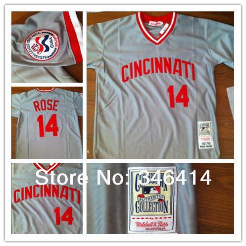Free Shipping Wholesale Men's Baseball Jerseys Cheap Cincinnati Reds #14 Pete Rose Jerseys,Embroidery Logos(China (Mainland))